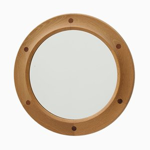 Mid-Century Oak and Rosewood Mirror from Fröseke Nybrofabriken
