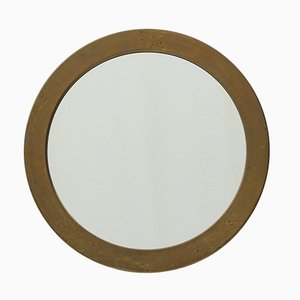 Round Mid-Century Swedish Brass Mirror from Glasmäster Markaryd