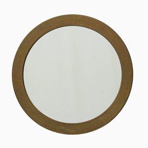 Runder schwedischer Mid-Century Spiegel mit Rahmen aus Messing von Glasmäster Markaryd