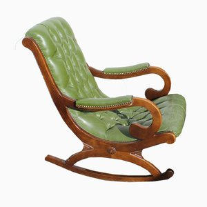 Green Leather Button Back Rocking Chair, 1960s