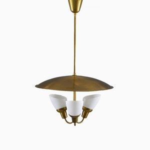 Lámpara colgante escandinava Mid-Century de latón y vidrio de Bjørn Engø para AWF