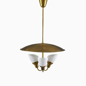 Mid-Century Scandinavian Brass and Glass Pendant by Bjørn Engø for AWF