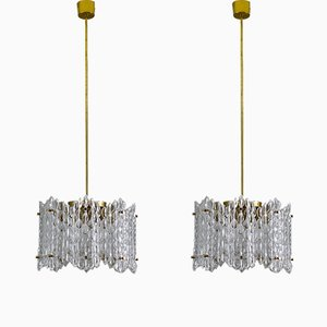 Mid-Century Swedish Chandeliers by Carl Fagerlund for Orrefors, Set of 2