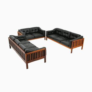 Vintage Monte Carlo Rosewood and Black Leather Living Room Set by Ingvar Stockum for Futura Möbler