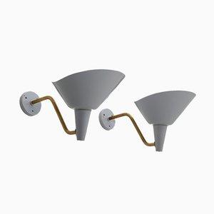 Lámparas de pared suecas vintage de latón y metal de Hans Bergström para Ateljé Lyktan