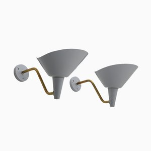 Vintage Swedish Brass and Metal Wall Lamps by Hans Bergström for Ateljé Lyktan