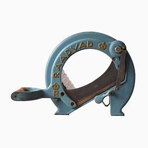 Dänische Mid-Century Brotschneidemaschine in Blau & Gold von Ove Larsen für Raadvad