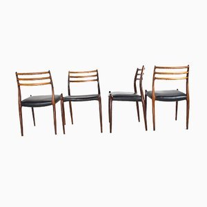 Mid-Century Rosewood Dining Chairs by Niels Moller for J.L. Møllers, 1954, Set of 4