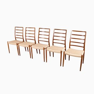Scandinavian Modern Papercord Model 82 High Back Chairs by N.O. Møller for J.L. Møllers, 1954, Set of 5