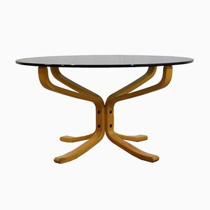 Vintage Hard Glass Falcon Coffee Table by Sigurd Ressell for Vatne Møbler, 1990s