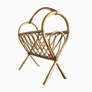 Vintage French Rattan Magazine Rack