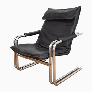 German Leather Lounge Chair, 1970s
