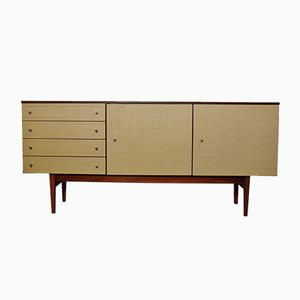 Large Mid-Century Sideboard with Leather Fronts