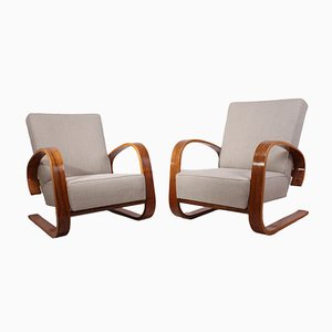 Walnut Lounge Chairs by Miroslav Navratil, 1950s, Set of 2