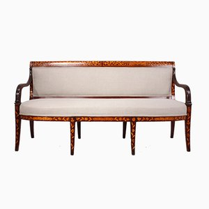 Antique Dutch Mahogany Marquetry Sofa, 1840s