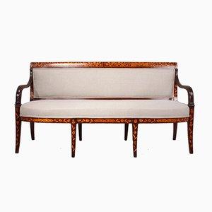 Niederländisches antikes Sofa aus Mahagoni mit Einlegearbeiten, 1840er