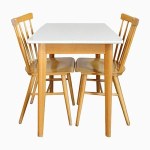 Vintage Scandinavian Dining Table & 2 Chairs, 1970s