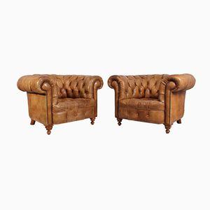 Tan Leather Chesterfield Club Chairs, 1960s, Set of 2