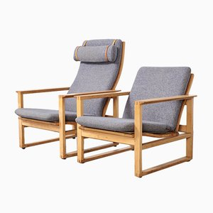 Model 2254 & 2256 Lounge Chairs by Børge Mogensen for Fredericia, 1950s, Set of 2