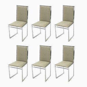 Stühle aus Chrom, Samt & Ulmenwurzel von Metal Arredo Milan, 1970er, 6er Set