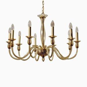 Glass and Brass 10-light Chandelier, 1930s
