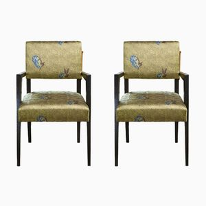 French Armchairs in Jacquard Fabric, 1950s, Set of 2