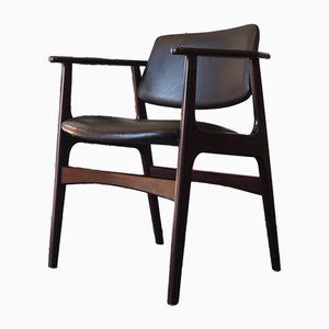 Chaise de Bureau Mid-Century en Palissandre & en Cuir, Danemark