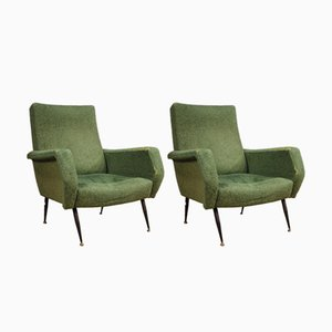Italian Green Armchairs, 1960s, Set of 2