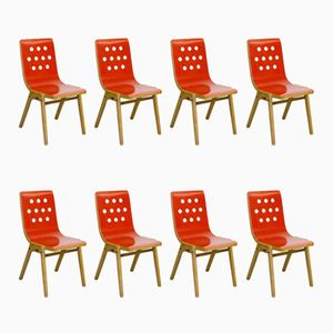 Mid-Century Austrian Red Lacquered Stacking Chairs by Roland Rainer for Pollak, 1950s, Set of 8