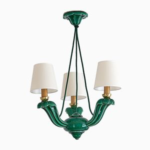 Art Deco Green Glazed Ceramic Three-Light Chandelier, 1930s