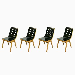 Mid-Century Austrian Stacking Chairs by Roland Rainer for Emil & Alfred Pollak, 1950s, Set of 4