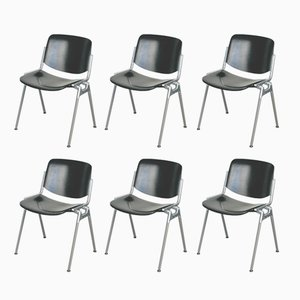 Black lacquered DSC 106 Stacking Chairs by Giancarlo Piretti for Castelli, 1960s, Set of 6