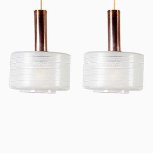 Lámparas colgantes de cobre y vidrio lechoso de Louis Kalff para Philips, años 50. Juego de 2