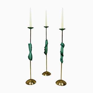 Bougeoirs en Laiton & en Bronze, 1950s, Set de 3