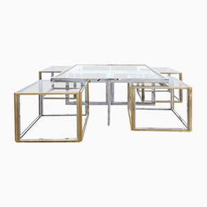 Table basse Vintage avec Quatre Tables d'Appoint de Maison Charles, 1970s, Set de 5