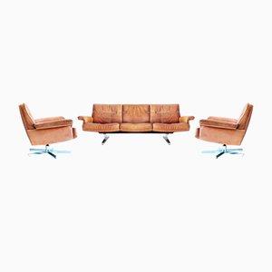 Poltrone e divano DS35 vintage di de Sede, anni '70, set di 3