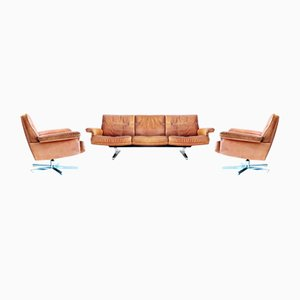 Vintage DS35 Couch and Armchairs from de Sede, 1970s, Set of 3
