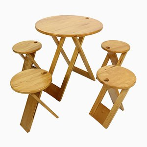 Foldable Table and Stools by Roger Tallon for Santou, 1970s, Set of 5
