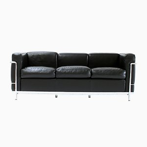Black Leather LC2 Sofa by Le Corbusier for Cassina, 1980s