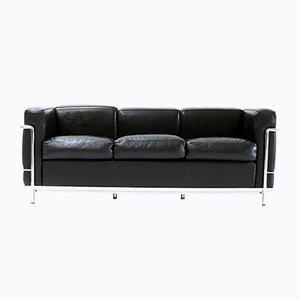 LC2 Sofa aus schwarzem Leder von Le Corbusier für Cassina, 1980er