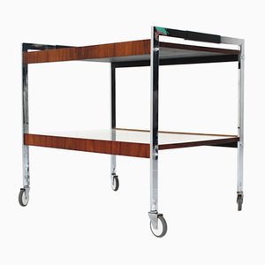 Mid-Century German Chrome, Aniline Leather & Palisander Trolley, 1960s