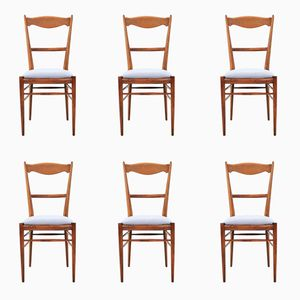 Vintage Beech Dining Chairs, 1960s, Set of 6
