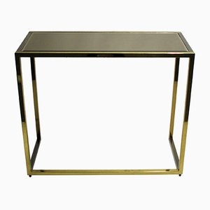 Table Console en Laiton et en Chrome, 1970s