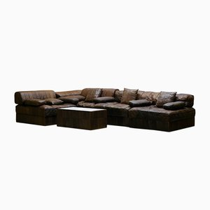 Vintage DS88 Brown Patchwork Leather Modular Sofa from de Sede, 1970s