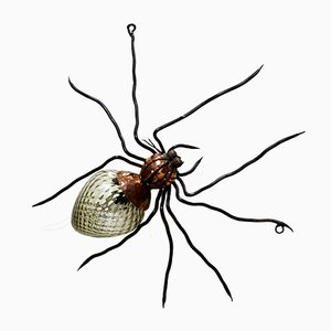 Mid-Century Italian Metal & Glass Spider Wall Lamp, 1950s