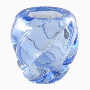 Jarrón vintage en espiral azul de Val Saint Lambert, años 60
