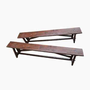 Vintage Fir Farm Benches, Set of 2