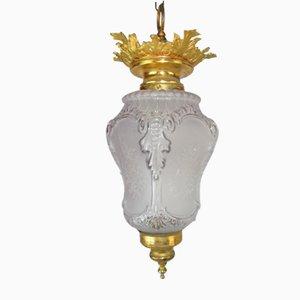 Empire Lampe aus Bronze & Glas, 1920er