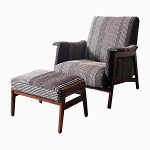 Vintage Italian Armchair & Pouf, 1960s