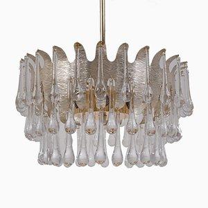 Lampadario vintage placcato in argento con 78 cristalli di Ernst Palme per Palwa, anni '60